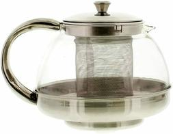 1 Qt Heat Resistant Glass Tea pot Teapot with Stainless stee