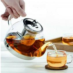 1000ml High Borosilicate Glass Teapot Stainless Steel Infuse