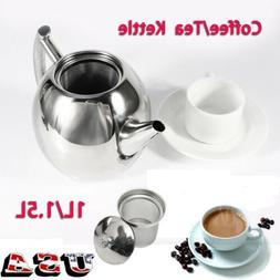 Durable 1L/1.5L Stainless Steel Teapot Coffee Pot Kettle Wit