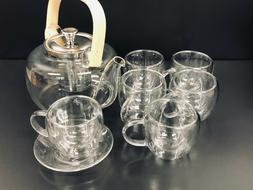 Glass Tea Pot Set With 6 Double-Wall Cups & Saucer