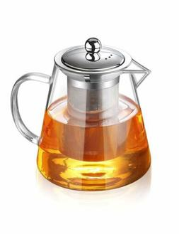 Glass Teapot Heat Resistant Tea Kettle with Removable Infuse
