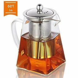 Glass Teapot with Infuser, 750ml/26.4oz Clear High Borosilic