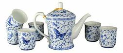 ivy butterfly blue white tea