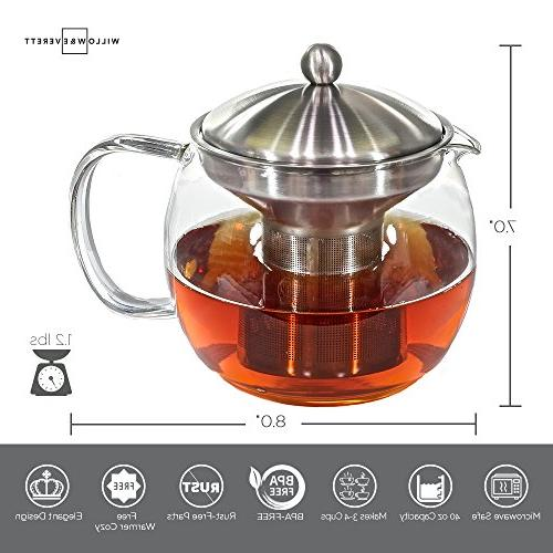 Teapot - Pot and Tea Infuser Glass Infusers Holds Cups Leaf Blooming or Kettles Tea Pots