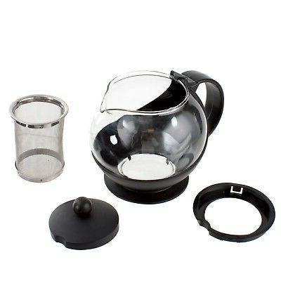 Choice/Update 25 Glass Tea Pot with Stainless Steel