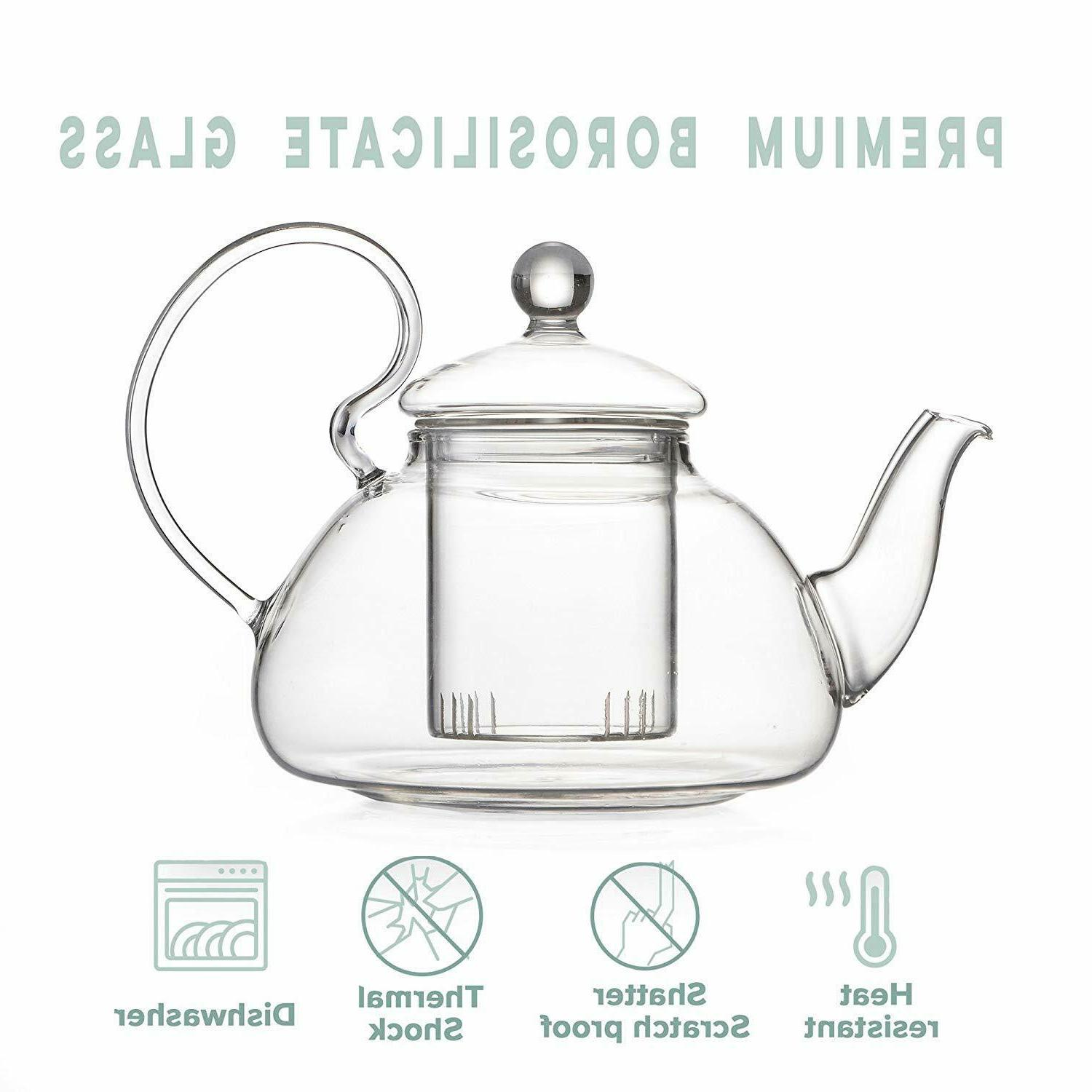 Glass Tea Set Loose Leaf Tea with and Teapot with Strainer