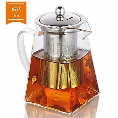 glass teapot with infuser 750ml 26 4oz