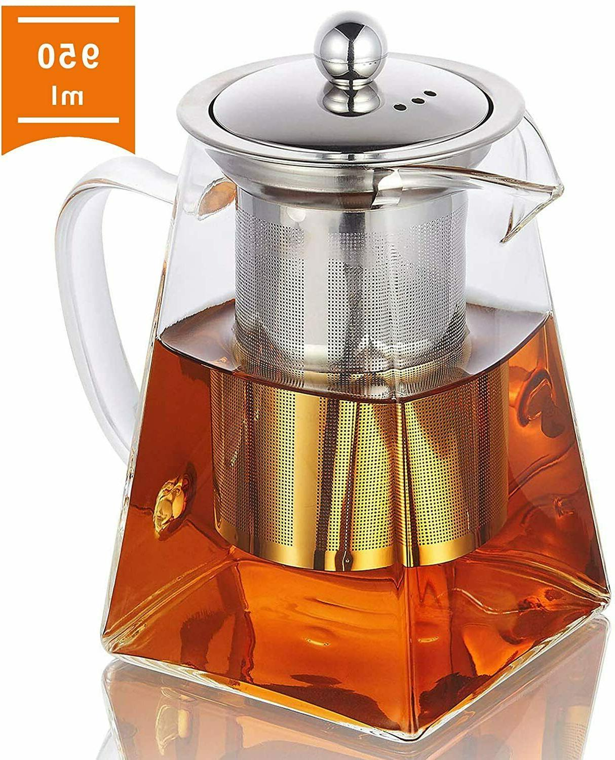 glass teapot with infuser 950ml 32oz clear
