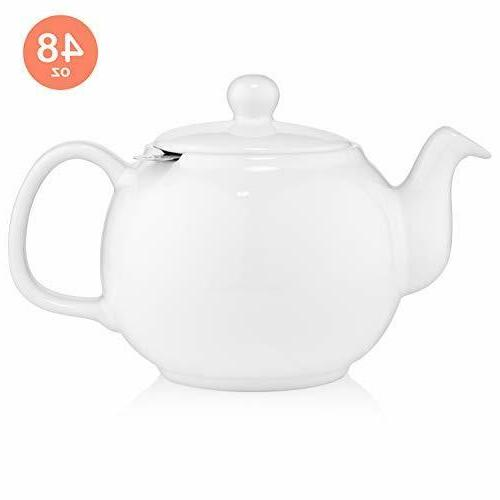 large porcelain teapot with removable stainless steel