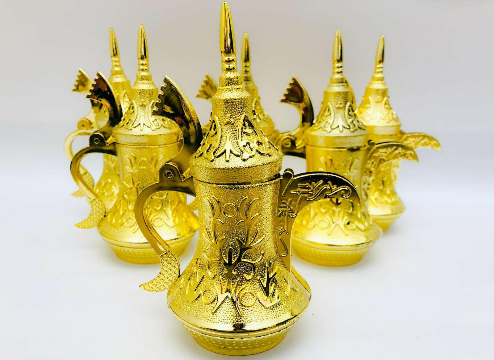 set of small moroccan tea kettle gold