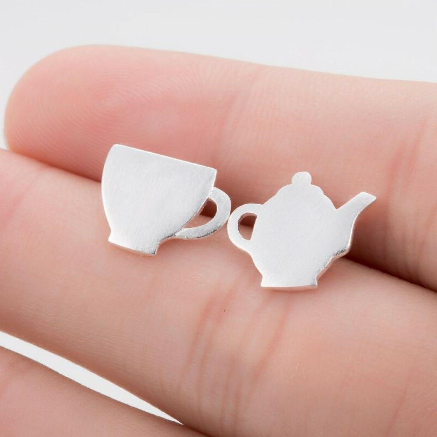 Tea Cup And Tea Pot Stud Earrings Teacup In Silver Gold Or R