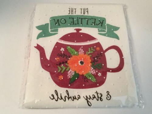 teapot kettle stay awhile dish towel kitchen