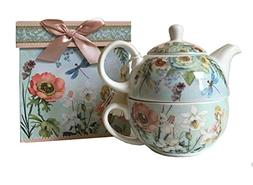 """Delton Products 5.8"""" Porcelain Tea for One in Gift Box, Drag"""