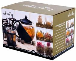 Primula Black & Glass Flowering Teapot & Cup Set with Tea by