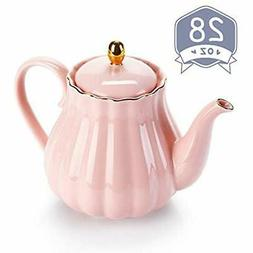 Royal Teapot, Porcelain Pot With Stainless Steel Infuser, Fi
