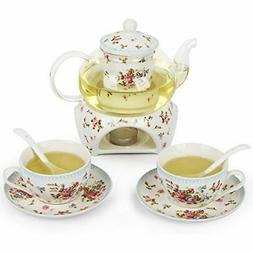 Tea Sets Pot With Cups And Saucer For Adults, 2 Porcelain Te
