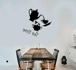 Vinyl Wall Decal Tea Time Set Kitchen Decor Cup And Teapot S